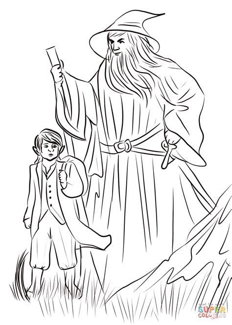 hill bilbo  gandalf coloring page