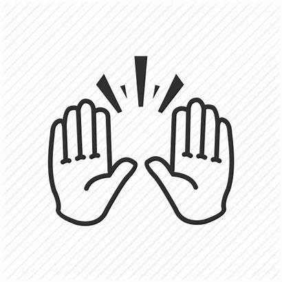 Hand Emoji Raising Icon Celebration Party Gesture