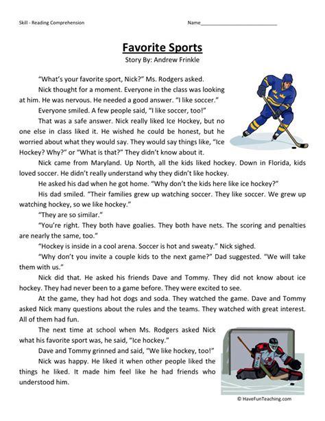 reading comprehension worksheet favorite sports