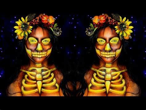 pumpkin skull halloween makeup tutorial youtube