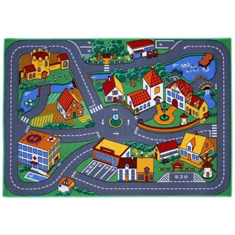 tapis chambre gar n voiture tapis enfant ville et routes 95x133cm achat vente