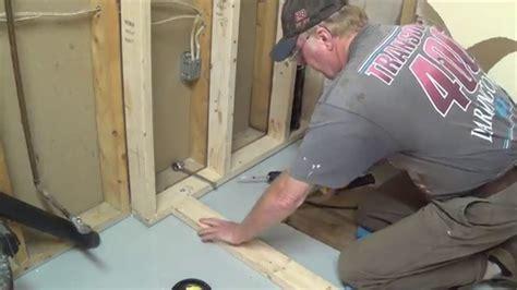 diy basement bathroom part  shower stall frame drain