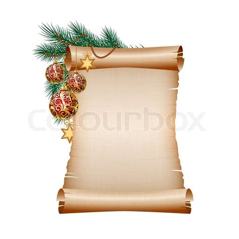 blank scroll paper  red christmas balls  green