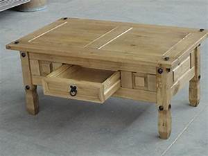 Pine coffee table solid mexican with drawer vintage for Mexican style coffee table