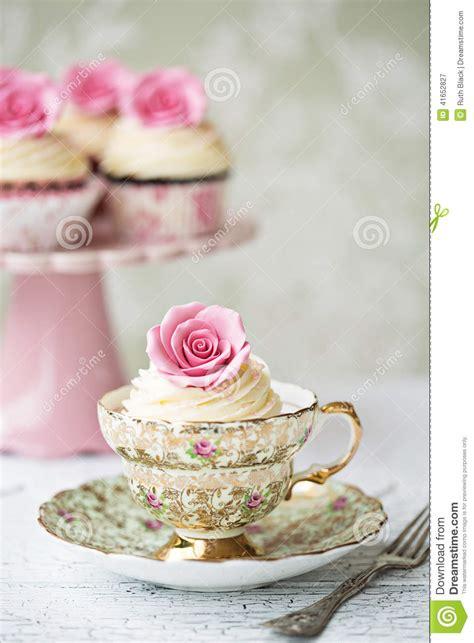 afternoon tea  rose cupcakes stock photo image