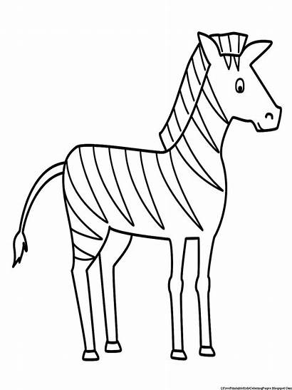 Zebra Coloring Pages Drawing Sketch Simple Animals