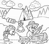 Coloring Fishing Pages Boy Scouts Going Camping Scout Sheets Cub Theme Tocolor Printable Summer Place Clipart Books Print Preschool Kindergarten sketch template