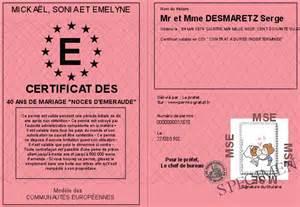 40 ans de mariage noce de certificat des 40 ans de mariage noces d emeraude