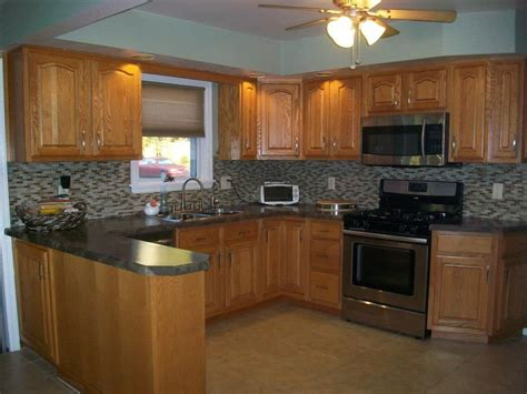 kitchen color ideas  honey oak cabinets