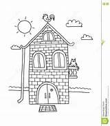 Villa Cartoon Village Casa Colorir Huis Het Campo Coloring Vector Della Wohn Hause Gezeichnet Nach Boek Kleurend Getrokken Beeldverhaal Dorp sketch template