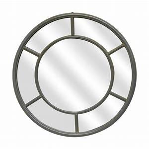 Miroir Rond à Suspendre : miroir rond en m tal de couleur taupe ~ Teatrodelosmanantiales.com Idées de Décoration