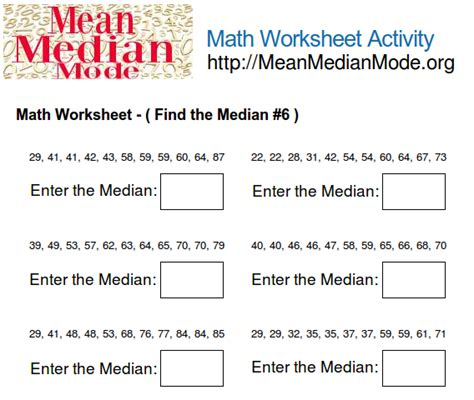 math worksheet activity find the median 6