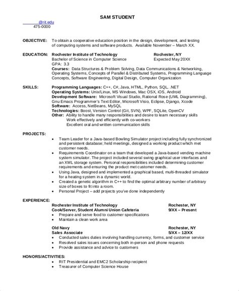 Computer Science Resumes by 8 Sle Computer Science Resumes Sle Templates