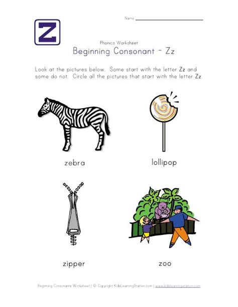 words that start with the letter j language arts letter z consonant worksheet phonics early reading 69954