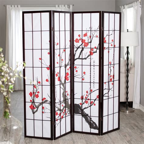 wall screen divider cherry blossom rosewood 4 panel room divider room 3320