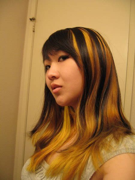 Brown Hair With Yellow Highlights by Cool Yellow Hair Highlights Hairstyle For Prom