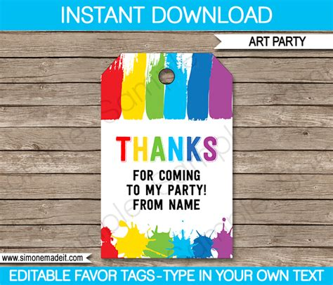 art party favor tags   tags paint party