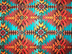 Navajo Teal Orange Brown Traditional Overal Cotton Fabric Fat