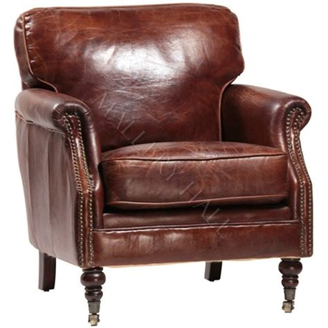 distressed waxed brown leather arm chair for the home