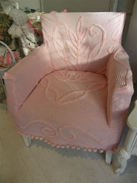 shabby chic chenille bedding shabby chic sofa slipcovered with vintage chenille bedspreads and roses fabrics eclectic