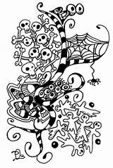 Zentangle Halloween Doodle Patterns Zentangles Doodles Boo Drawings Zen Tangle Coloring Sharpie Designs Dobriendesign sketch template
