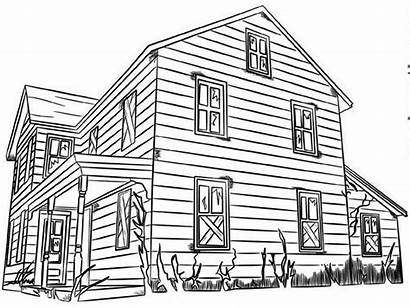 Coloring Houses Wood Haunted Cowboys Pages Terrible