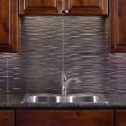 home depot kitchen backsplash fasade 24 in x 18 in waves pvc decorative tile backsplash in brushed nickel b65 29 the home