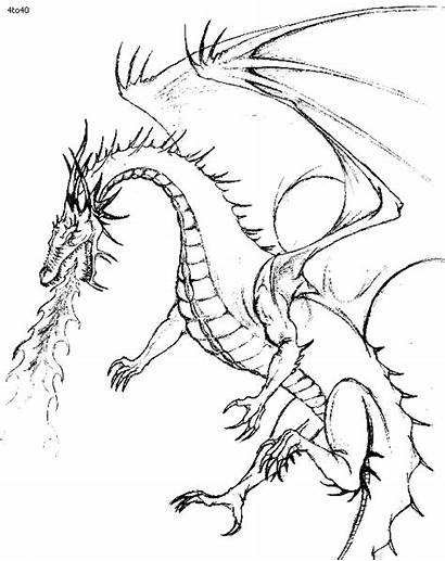 Dragon Coloring Fire Breathing Pages Dragons Realistic