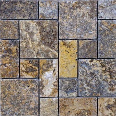 scabos tumbled travertine random mosaic floor or wall tile