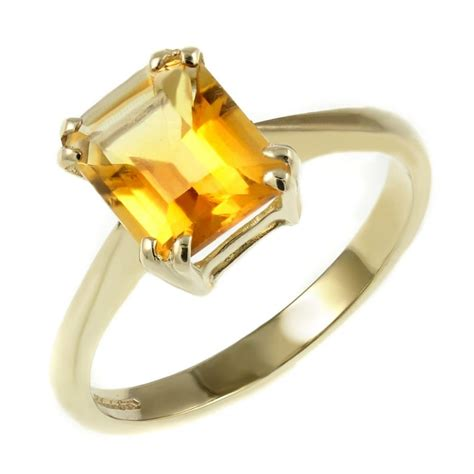 ct yellow gold xmm emerald cut citrine ring jewellery