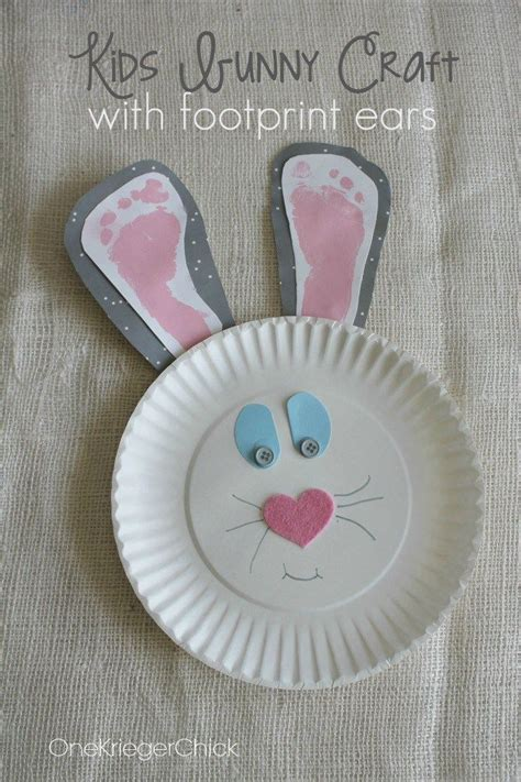 kids bunny craft  footprint ears pictures