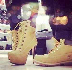 His & Hers Timberland boots and heels swag fashion couples ...