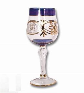 EGYPTIAN MUSEUM GLASS DG301 BLU Blue Wine Glass with Gold ...  Glass