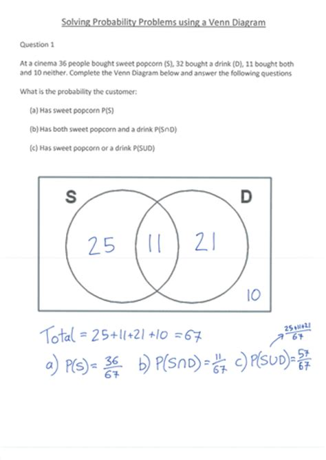 Venn Diagram Probability Question by Venn Diagram Lesson By S Curzon Teaching Resources Tes