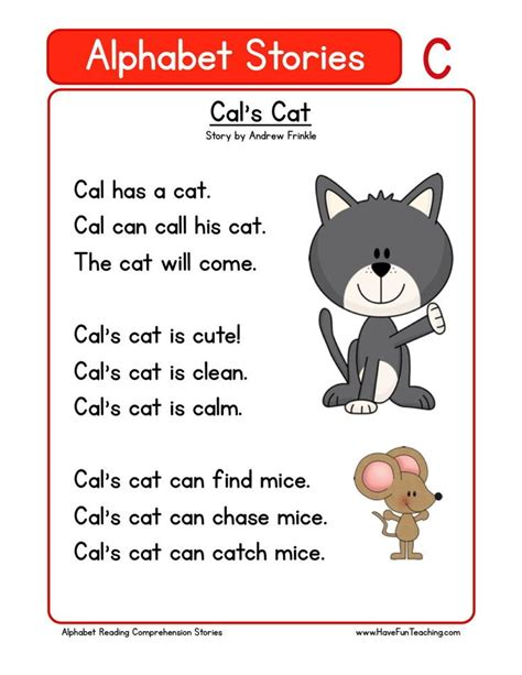 reading comprehension worksheet cals cat reading