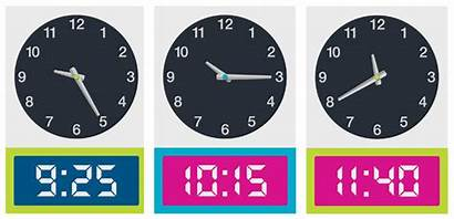 Digital Analogue Minutes Clock Clipart Cards Teaching