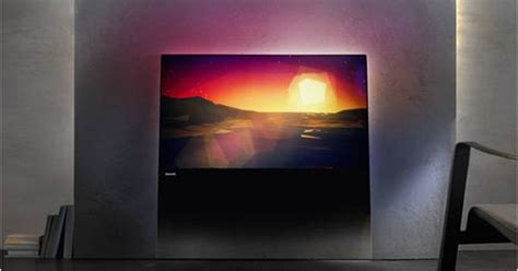 4 Piece Frameless Colourful Leaf Trees Canvas Painting: Philips DesignLine Frameless LED TV