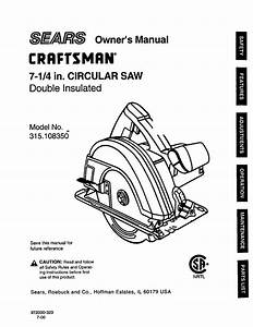 Craftsman 315108350 User Manual Circular Saw Manuals And
