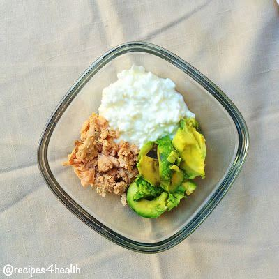 cottage cheese lunch ideas cottage cheese tuna and avocado only 300 calories and 35