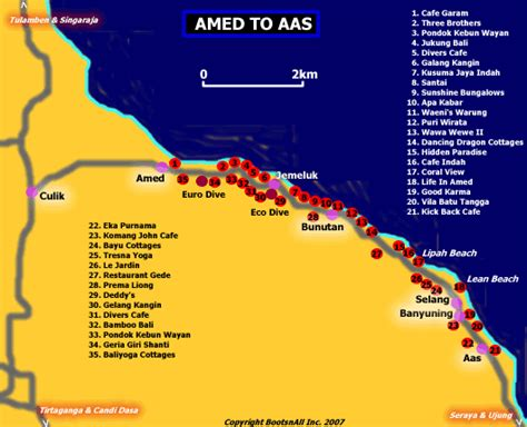 detail location map  amed bali  tourists guidance