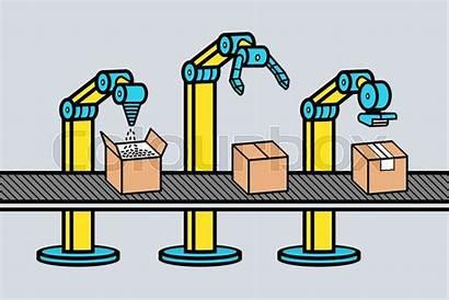 Robot Industrial Production Line Arm Vector Clipart