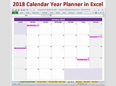 2018 Calendar Year in Excel Spreadsheet Printable