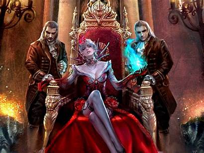 Vampire Fantasy Queen Waiting Throne Woman Magic