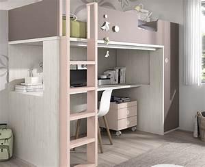 Lit Mezzanine Ado : chambre ado compos e d un lit haut meubles ros meubles ros ~ Teatrodelosmanantiales.com Idées de Décoration