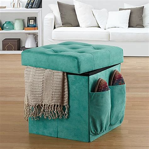 sit and store ottoman anthology sit store folding ottoman in tufted aqua