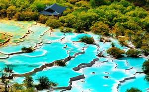 Hidden Colorful Pools In Huanglong Scenic Valley China