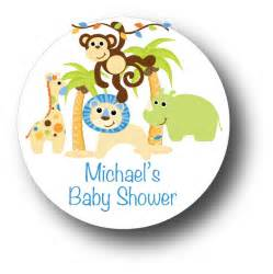 Ready To Pop Baby Shower Labels Free by 30 Jungle Animals Safari Baby Boy Shower Favor Stickers Ebay