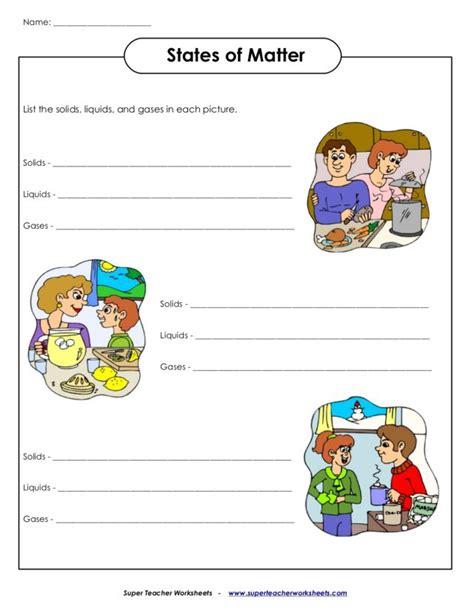 1st grade science worksheets on matter 2nd grade science