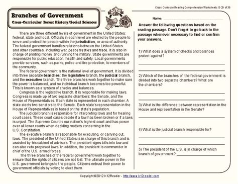 all worksheets 187 branches of government worksheets