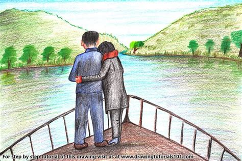 learn   draw romantic couple  boat valentines day